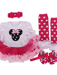 Menina de Vestido / Conjunto Algodão / Chiffon Todas as Estações Rosa / Violeta / Vermelho