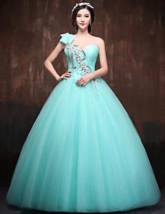 저녁 정장파티 드레스 볼 가운 바닥 길이 원 숄더 사틴/명주그물/폴리에스터