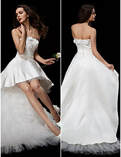 ball gown strapless asymmetrical satin tulle wedding dress with appliques sash ribbon flower by lan