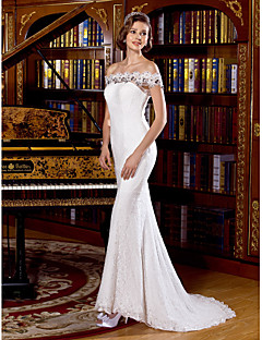 Trumpet/Mermaid Wedding Dress Sweep/Brush Train Off-the-shoulder Lace