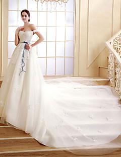 웨딩 드레스 A 라인 쿼트 트레인 오프 더 숄더 레이스