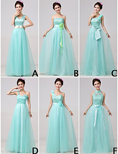 Floor-length Bridesmaid Dress A-line High Neck / One Shoulder / Strapless / V-neck with