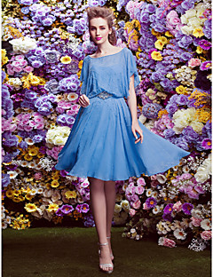 Homecoming TS Couture Cocktail Party Dress - Ocean Blue A-line Scalloped Knee-length Chiffon