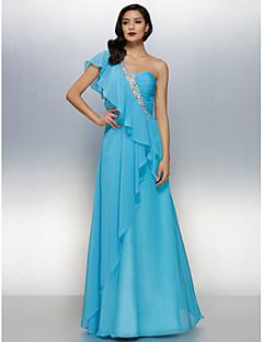Vestido - Azul Oceano Linha-A Assimétrico Longo Chiffon