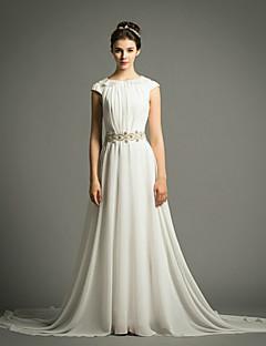 웨딩 드레스 - 아이보리(색상은 모니터에 따라 다를 수 있음) A 라인 스위프/브러쉬 트레인 보석 쉬폰