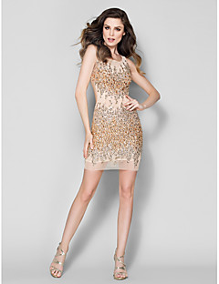 Homecoming TS Couture Formal Evening Dress - Champagne Sheath/Column Scoop Short/Mini Tulle