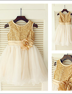 A-line Princess Jewel Tea-length Sequined And Tulle Flower Girl Dress
