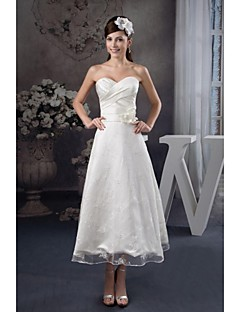 A-line Tea-length Wedding Dress -Sweetheart Satin