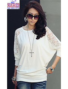 Women's Casual/Daily Simple All Seasons Blouse,Solid Round Neck Long Sleeve White / Black Cotton Medium