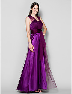 Lanting Bride® Floor-length Tulle Convertible Dress Bridesmaid Dress - A-line Plus Size / Petite with Side Draping / Ruching