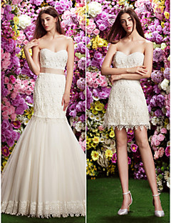 Lan Ting Fit & Flare Wedding Dress - Ivory Court Train Sweetheart Lace / Tulle