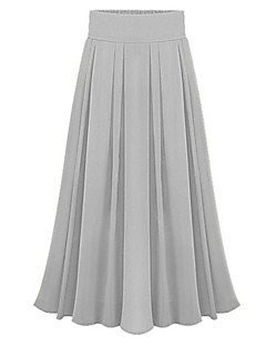 Women's Sexy Casual Cute Maxi Inelastic Thin  Skirts (Chiffon)