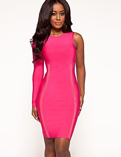 Cocktail Party Dress Sheath/Long Sleeve One Shoulder Notched Knee-length Spandex/Nylon/Rayon Taffeta Bandage Dress