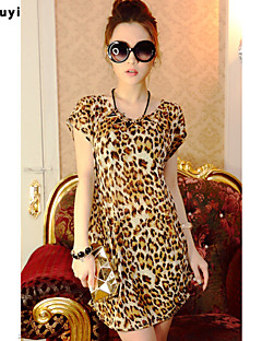 Leopard Kortärmad T-shirt Kvinnors Rund hals Siden