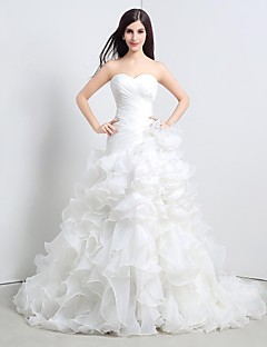 Princess Wedding Dress - White Cathedral Train Strapless Tulle