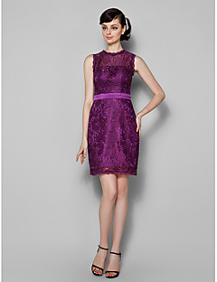 Lanting Knee-length Lace Bridesmaid Dress - Grape Plus Sizes / Petite Sheath/Column Jewel