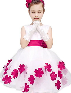 Sheath/Column Knee-length Flower Girl Dress - Organza / Polyester Sleeveless