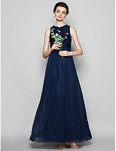 LAN TING BRIDE Floor-length Chiffon / Lace Bridesmaid Dress - Sheath / Column Jewel Plus Size / Petite with Lace