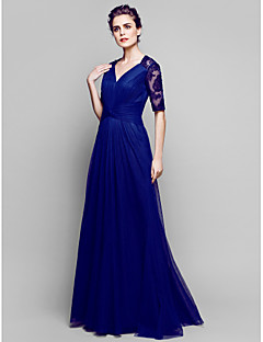 Lanting A-line Plus Sizes / Petite Mother of the Bride Dress - Dark Navy Floor-length Half Sleeve Lace / Tulle