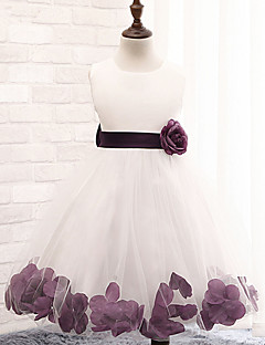A-line Tea-length Flower Girl Dress - Cotton/Lace/Tulle/Polyester Sleeveless