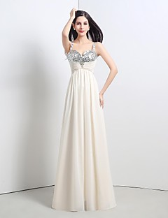 Formal Evening Dress A-line Straps Floor-length Chiffon / Sequined with