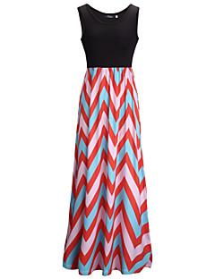 Women's Sexy Beach Party Casual Stripes Slim Maxi Dress