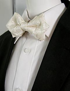 Men's Solid White Paisley Bow Tie Pre-tied Dress Wedding Blend Ajustable SilkBlend Wedding