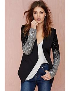 Vardag Långärmad Normal Blazer Kvinnors Polyester