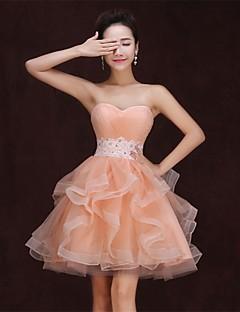 hjemkomst cocktail party / formell kjole stroppeløs knelang satin kjole oransje kjole