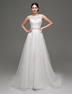 A-line Wedding Dress - Chic & Modern / Glamorous & Dramatic Lacy Looks / See-Through Wedding Dresses Court Train Jewel Lace / Tulle