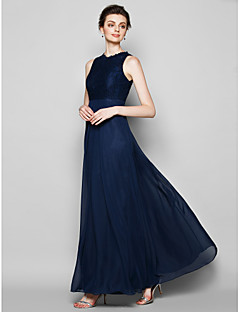 Lanting Floor-length Chiffon / Lace Bridesmaid Dress - Dark Navy Plus Sizes / Petite Sheath/Column Jewel