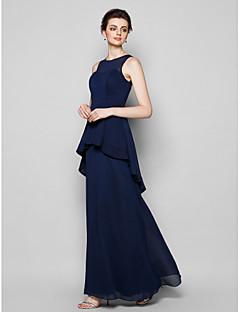 Floor-length Chiffon Bridesmaid Dress - Dark Navy Plus Sizes / Petite Sheath/Column Scoop