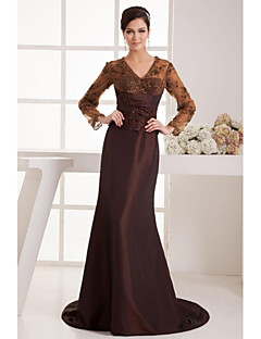 A-line Petite Mother of the Bride Dress - Chocolate Sweep/Brush Train 3/4 Length Sleeve Lace / Satin
