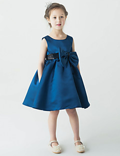 Blumenmädchen Kleid - Satin - A-Linie - knielang - Ärmellos