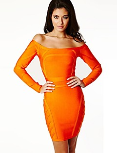 Cocktail Party Kleid - Orange Elasthan/Kunstseide/Nylontaft - Etui-Linie - mini - U-Boot-Ausschnitt