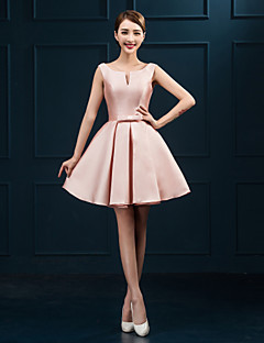 robe de cocktail de retour - en rougissant robe de bal rose Scoop court / mini en satin