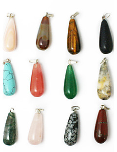 Beadia 24pcs Mixed Color Natural Gemstone Charm Pendant Beads 11x25mm Tear Drop Shape Stone Fit Pendant Necklaces
