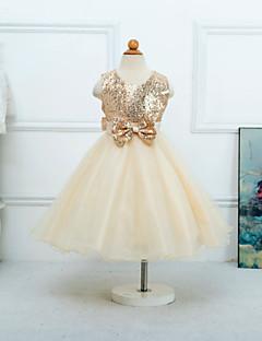 Princess Tea-length Flower Girl Dress - Satin / Tulle Sleeveless Jewel with
