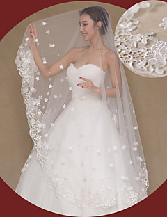 One-tier - Lace Applique Edge - Angel cut/Waterfall - Cathedral Veils ( Ivory , Embroidery )