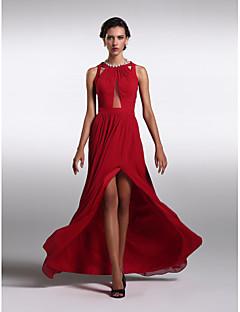 ts couture® formell frack plus size / nätt mantel / kolumn juvel golv längd chiffong med