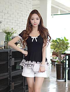 여성의 패치 워크 리본 짧은 소매 티셔츠,심플 캐쥬얼/데일리 블랙 폴리에스테르 / 스판덱스 여름 얇음