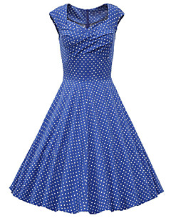 Women's Going out Vintage Cute A Line Dress,Polka Dot Sweetheart Knee-length Short Sleeve Cotton Polyester Others Spring Mid Rise