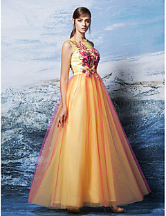 Formal Evening Dress - Multi-color Plus Sizes / Petite A-line Scoop Floor-length Tulle