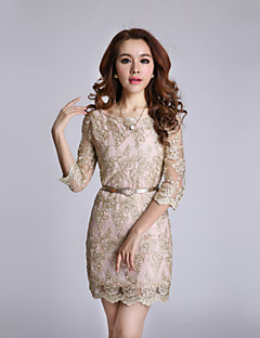 Women's Party/Cocktail Sexy / Vintage Shift Dress,Solid Round Neck Above Knee ¾ Sleeve Gold Fall