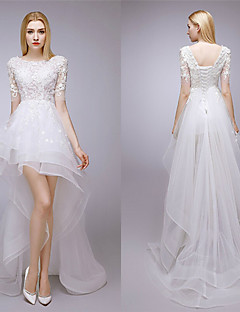 A-linje Asymmetrisk Brudekjole - Hvit Juvel Blonde