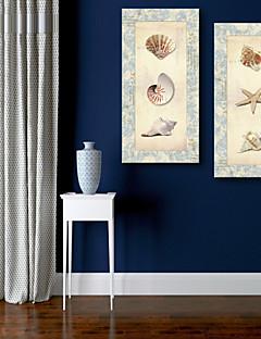 e-home® allungata conchiglie su tela di conchiglia e stelle marine insieme pittura decorativa di 2