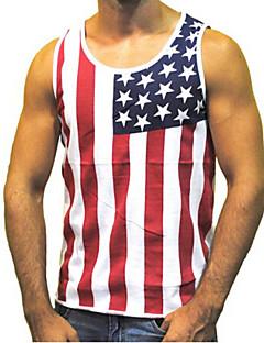 Men's Print / Striped Casual / Work / Sport Tank Tops,Cotton Blend Short Sleeve-Black / Red