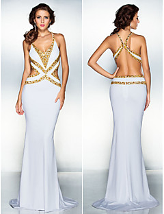 Homecoming Formal Evening Dress - White Trumpet/Mermaid V-neck Sweep/Brush Train Jersey