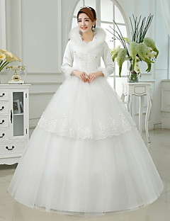 Ball Gown Ankle-length Wedding Dress -High Neck Satin