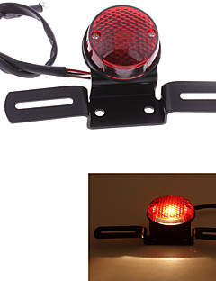 Motorcycle LED Tail License Plate Rear Light Round Red Lens DC 12V Universal (1 Pc)
